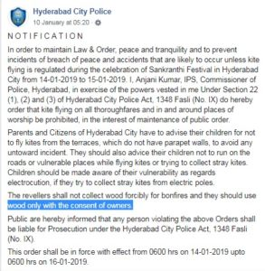 Facebook message of Hyderabad Police that was misinterpreted on social media as a blanket ban on kite flying during Sankranti (Facebook)